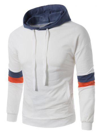 Fashion Color Block Panel Drawstring Pullover Hoodie - L WHITE Mobile