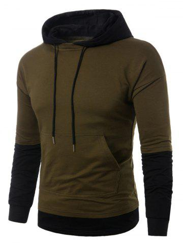 Outfit Faux Twinset Panel Pouch Pocket Pullover Hoodie - M ARMY GREEN Mobile