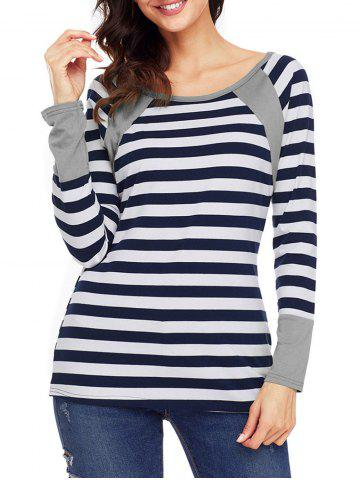 Latest Raglan Sleeve Striped Top - L GRAY Mobile