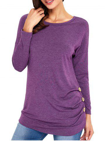 Affordable Long Sleeve Button Embellished Tunic Top PURPLE L