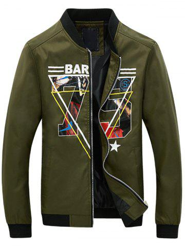 Online 3D Geometric Graphic Print Zip Up Jacket ARMY GREEN 2XL