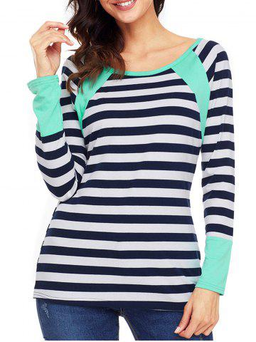 Trendy Raglan Sleeve Striped Top - XL GREEN Mobile