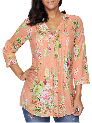 Hot Pleated V Neck Floral Blouse ORANGEPINK S