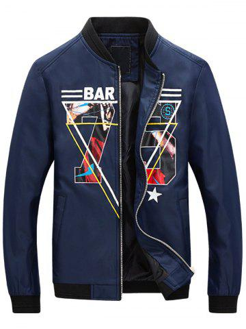 Hot 3D Geometric Graphic Print Zip Up Jacket - XL BLUE Mobile