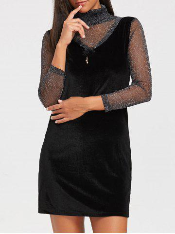 Cheap Turtleneck See Through Velvet Mini Dress BLACK L
