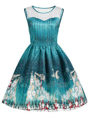 Sale Christmas Print Mesh Panel Vintage Dress - L GREEN Mobile