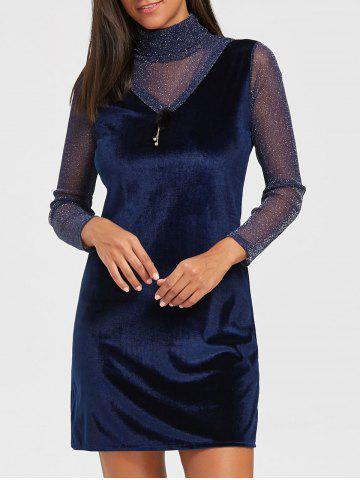Trendy Turtleneck See Through Velvet Mini Dress ROYAL L