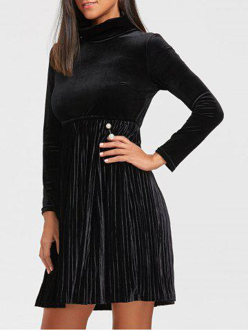 Outfits Long Sleeve Turtleneck Mini Velvet Pleated Dress BLACK 2XL