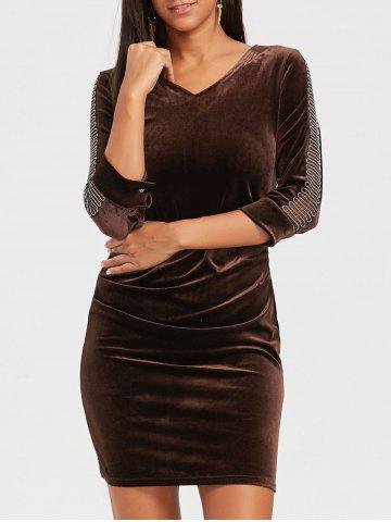 Latest Mesh Insert Mini Velvet Bodycon Dress DEEP BROWN M