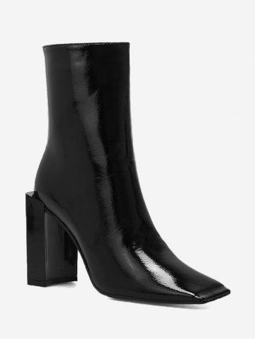 Chic Square Toe PU Leather Boots - 35 BLACK Mobile