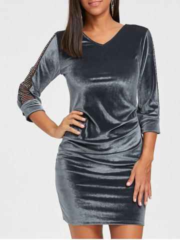 Cheap Mesh Insert Mini Velvet Bodycon Dress
