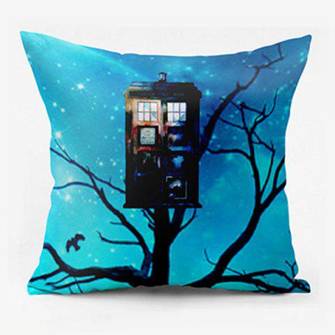 Discount Police Box Double Sided Printed Decorative Pillowcase SKY BLUE W17.5 INCH * L17.5 INCH