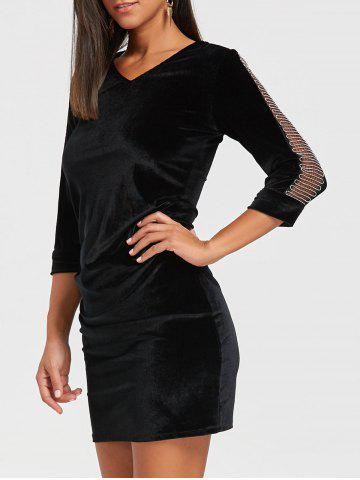 Outfit Mesh Insert Mini Velvet Bodycon Dress - L BLACK Mobile
