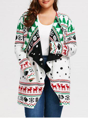 Chic Christmas Graphic Plus Size Tunic Draped Cardigan - 2XL WHITE Mobile