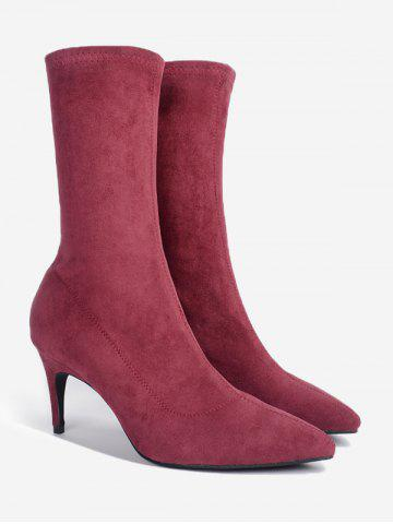 New Pointed Toe Stiletto Heel Mid Calf Boots WINE RED 36