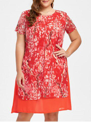 Best Plus Size Layered  Floral Chiffon Dress