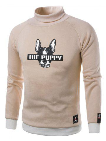 Unique Dog Graphic Print Turtle Neck Fleece Sweatshirt KHAKI L