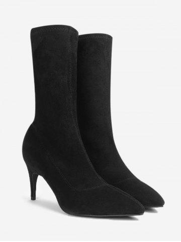 New Pointed Toe Stiletto Heel Mid Calf Boots - 38 BLACK Mobile