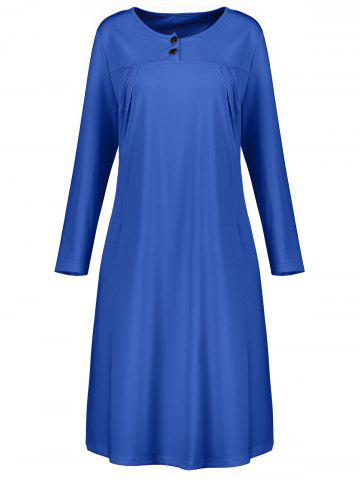 Affordable Plus Size Button Embellished Long Sleeve Smock Dress BLUE 3XL