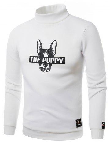 Latest Dog Graphic Print Turtle Neck Fleece Sweatshirt WHITE 2XL