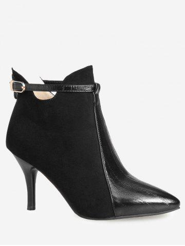 Buy Buckle Strap Pointed Toe Stiletto Heel Boots - 36 BLACK Mobile
