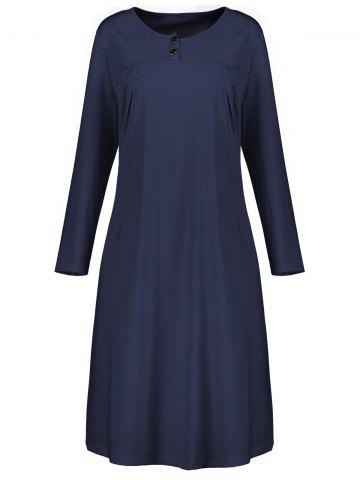 Best Plus Size Button Embellished Long Sleeve Smock Dress CERULEAN 5XL