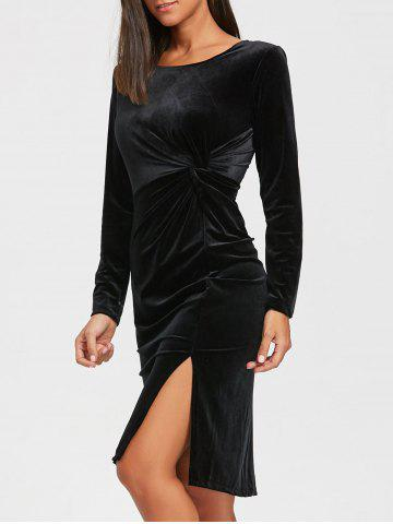 Buy High Slit Front Knot Midi Velvet Dress - L BLACK Mobile