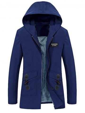 Store Horn Button Pockets Applique Long Zip Up Coat BLUE 3XL