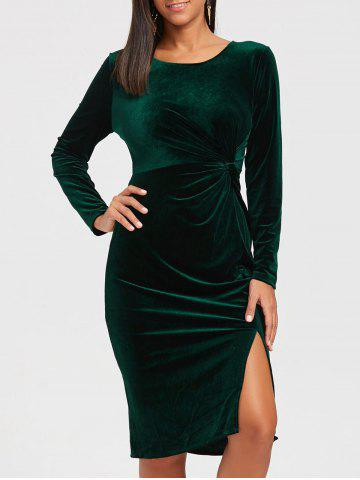 New High Slit Front Knot Midi Velvet Dress - 2XL BLACKISH GREEN Mobile