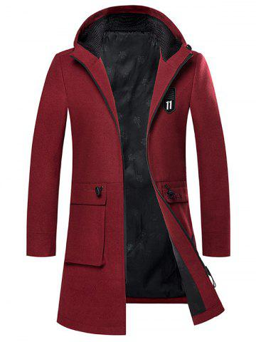 Fashion Zip Up Embroidered Woolen Coat WINE RED 2XL