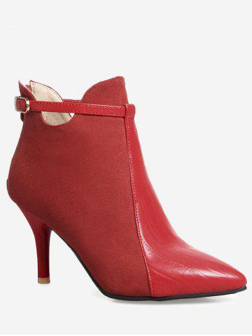 Shops Buckle Strap Pointed Toe Stiletto Heel Boots - 38 RED Mobile
