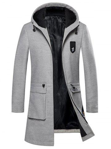 Shops Zip Up Embroidered Woolen Coat - GRAY 2XL Mobile