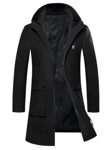 Trendy Zip Up Embroidered Woolen Coat - BLACK 2XL Mobile