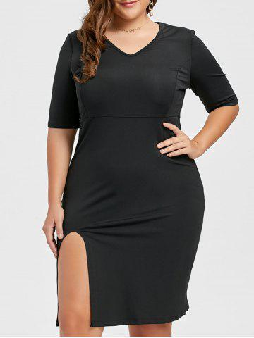 Hot V Neck Plus Size Sheath Dress with Slit BLACK 6XL