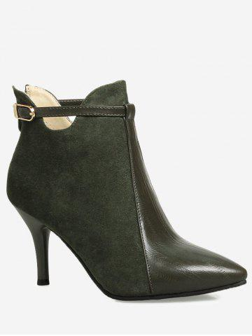 Fancy Buckle Strap Pointed Toe Stiletto Heel Boots - 37 ARMY GREEN Mobile