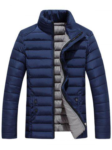 Trendy Zip Up Stand Collar Wadded Jacket