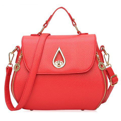 Shop Metal Embellished Faux Leather Handbag - RED  Mobile