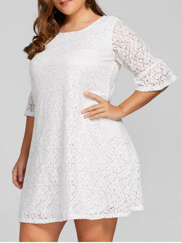 New Plus Size Bell  Sleeve Lace Dress WHITE 5XL