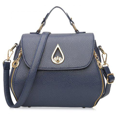 Best Metal Embellished Faux Leather Handbag BLUE
