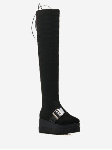 Chic Square Toe Buckle Strap Thigh High Boots - 35 BLACK Mobile
