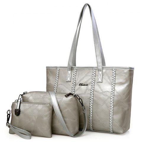 Best Braid 3 Pieces Quilted Handbag Set - SILVER  Mobile