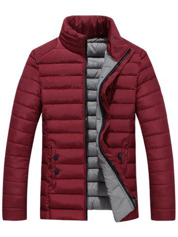 Trendy Zip Up Stand Collar Wadded Jacket WINE RED 5XL