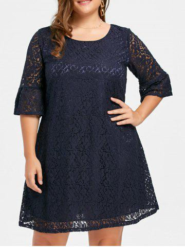Shop Plus Size Bell  Sleeve Lace Dress DEEP BLUE 3XL