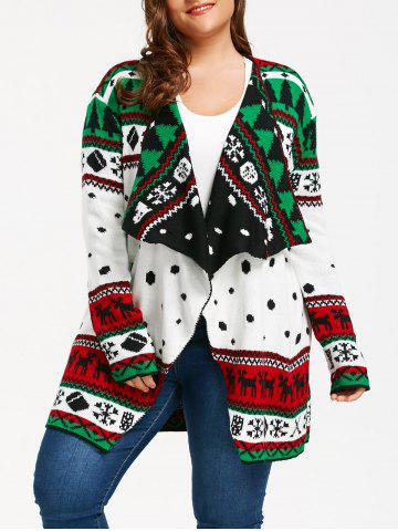 New Christmas Element Plus Size Tunic Draped Cardigan