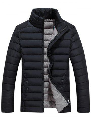 Discount Zip Up Stand Collar Wadded Jacket