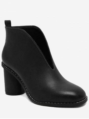 Fancy PU Leather Chunky Heel Curve Boots BLACK 35