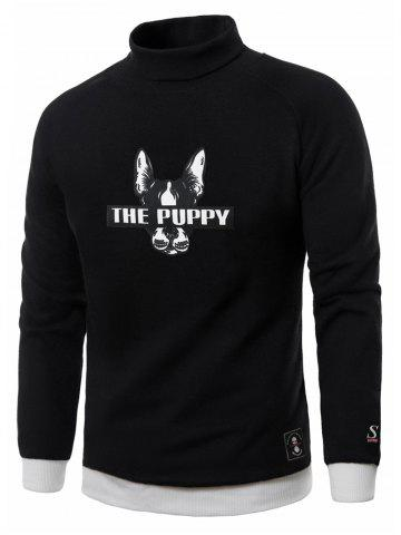 Online Dog Graphic Print Turtle Neck Fleece Sweatshirt - M BLACK Mobile