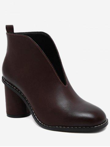 Cheap PU Leather Chunky Heel Curve Boots - 35 WINE RED Mobile