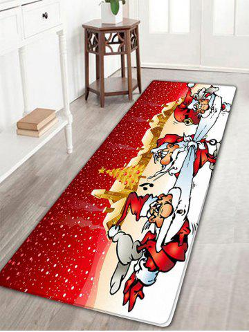 Fashion Three Santa Claus Pattern Flannel Nonslip Christmas Bath Rug