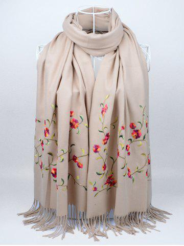 Online Vintage Floral Embroidery Faux Wool Long Scarf KHAKI